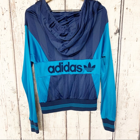 Adidas trefoil color block hooded zip sweatshirt M